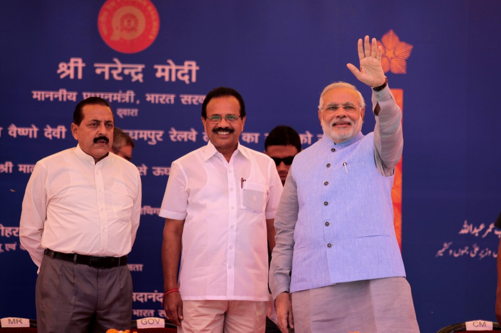 JAMMU, INDIA - JULY 4: (R- L) Prime Minister Narendra Modi with Railway Minister Sadananda Gawda and Minister of State Jitender Singh during the inauguration ceremony at Katra railway station on July 4, 2014 in Katra, about 45 kms from Jammu. Prime Minister Narendra Modi today flagged off Shri Shakti Express, the first train on Katra-Udhampur line from Katra railway station, facilitating pilgrims to visit Mata Vaishno Devi shrine. (Photo by Nitin Kanotra/Hindustan Times via Getty Images)