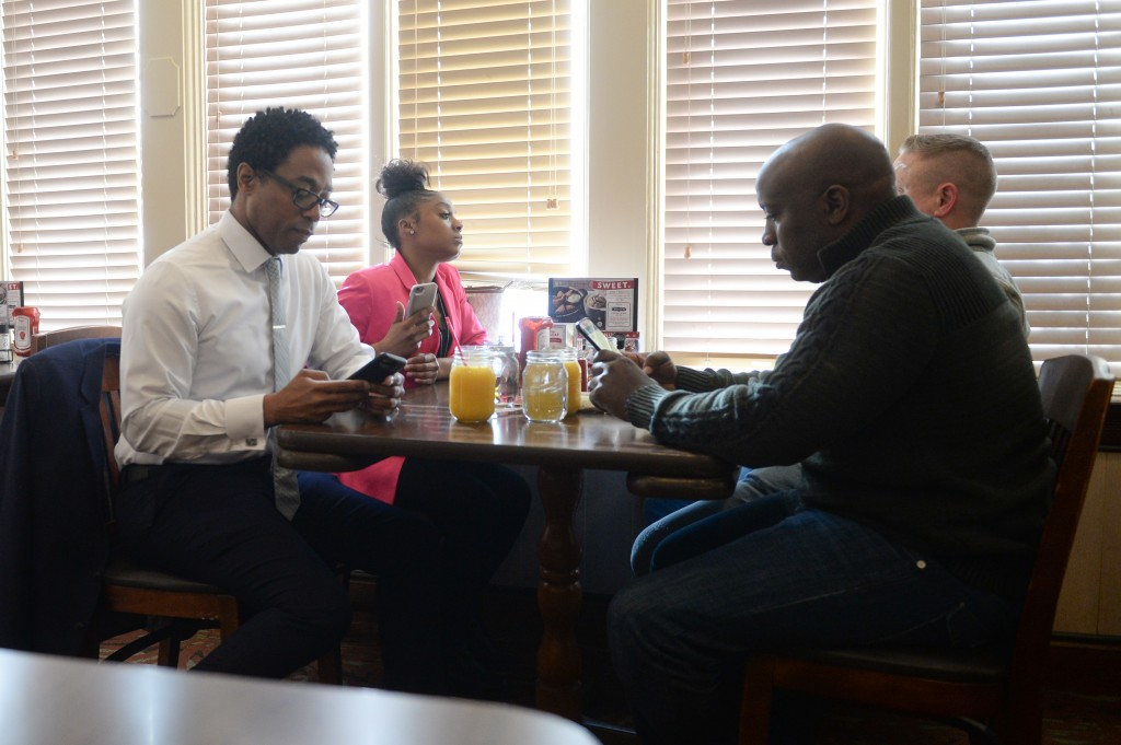 St. Louis County Prosecutor, Wesley Bell has breakfast with members of his staff at Bob Evans Restaurant on January 21, 2019 in Bridgeton, Mo. (Photo: Michael Thomas for The Intercept)
