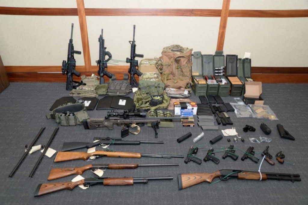 SILVER SPRING, MD -  FEBRUARY 21:  In this undated handout photo provided by U.S. Attorney's Office for the District of Maryland, the collection of weapons and ammunition federal agents say they found in Christopher Paul Hasson's Silver Spring apartment are shown in Maryland. A member of the U.S. Coast Guard, 49-year-old Hasson, was arrested on weapons and drugs violations and is accused of plotting a major terror attack against Americans. (Photo by U.S. Attorney's Office for the District of Maryland via Getty Images)