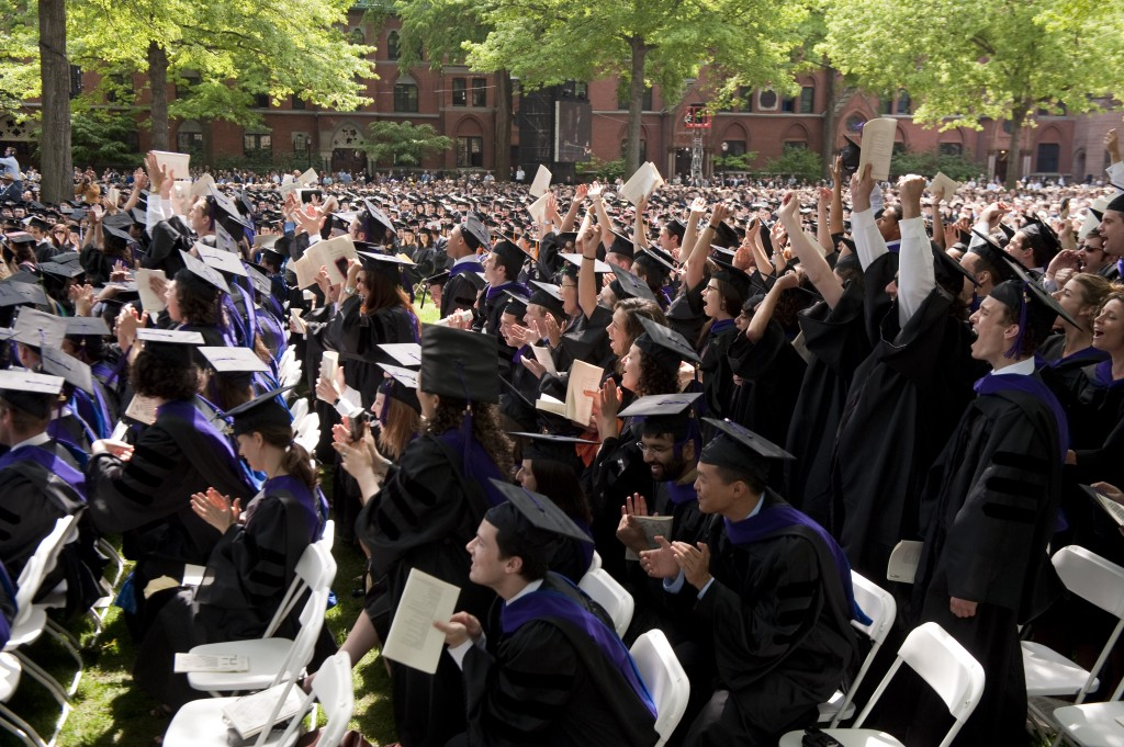 Graduates celebrate during Yale University's commencement in New Haven, Conn., Monday, May 25, 2009. (AP Photo/Douglas Healey)