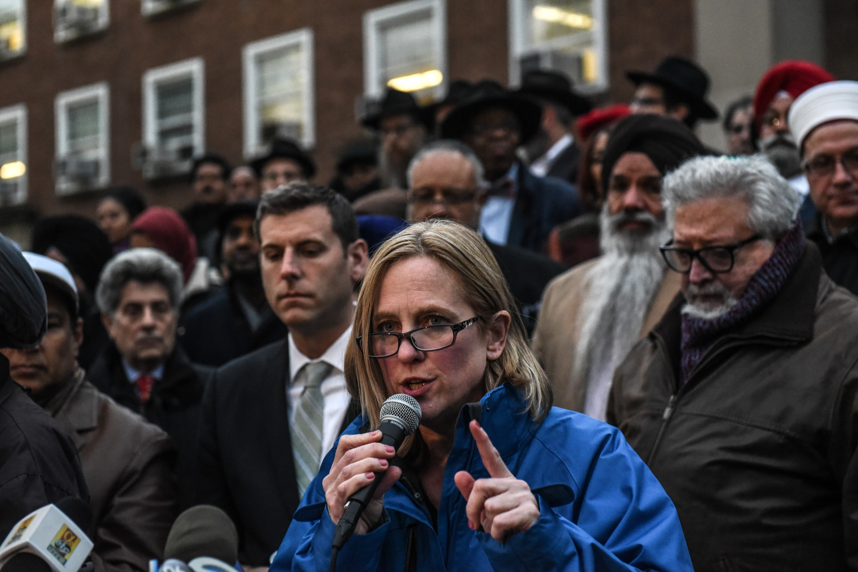 NEW YORK, NY - OCTOBER 29: Melinda Katz, the Queens Borough president, speaks during a vigil in memory of the victims of the mass shooting at the Tree Of Life Synagogue on the steps of Queens Borough Hall on October 29, 2018 in New York City. Eleven people were killed and six more were wounded in the mass shooting that police say was fueled by antisemitism. (Photo by Stephanie Keith/Getty Images)