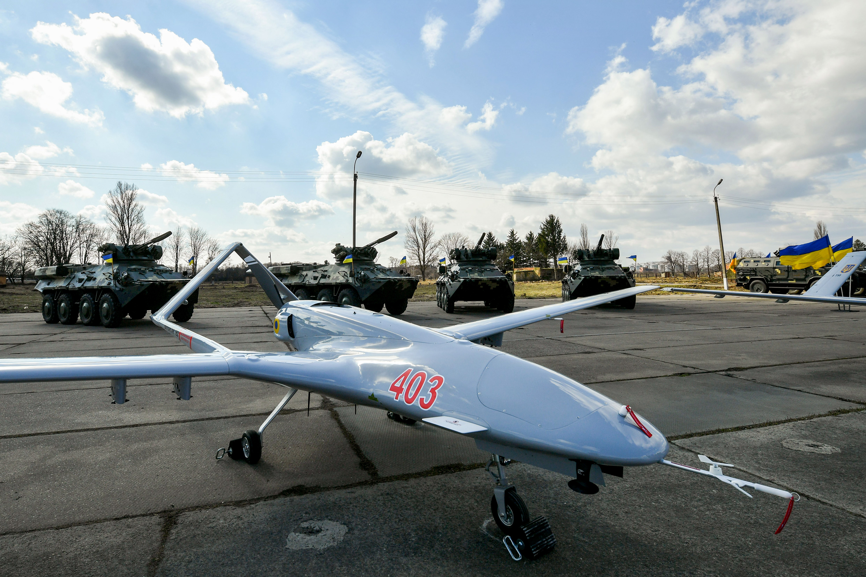 HMELNITSKI, UKRAINE - MARCH 20: Bayraktar TB2 UAVs is seen before the test flight at the military base located in Hmelnitski, Ukraine on March 20, 2019. Bayraktar TB2 has been used by the Turkish Armed Forces and Turkey's Security Directorate since 2015. The TB2 armed UAV, was developed for tactical reconnaissance and surveillance missions and it can also carry ammo, do assaults, and has laser target acquisition. As of January 2019, Turkish Armed Forces had a fleet of 75 Bayraktar TB2 platforms. Earlier in January, Poroshenko announced that Ukraine signed an agreement to purchase Bayraktar TB2 armed UAVs from Turkey for the Ukrainian army.  (Photo by Press Office of the President of Ukraine / Mykola Lararenko / Handout/Anadolu Agency/Getty Images)