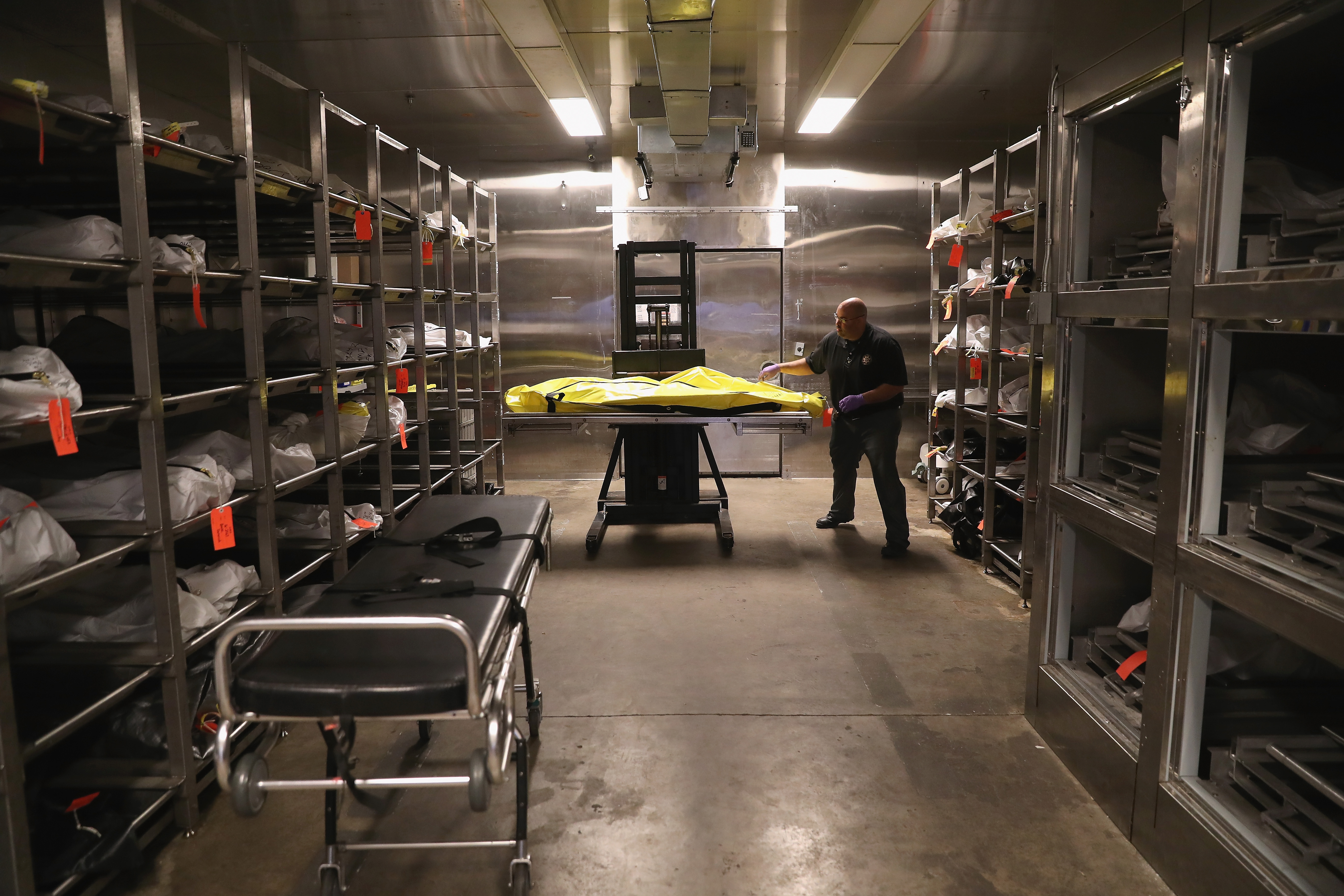 TUCSON, ARIZONA - SEPTEMBER 29: Death investigator Trevis Hairston moves a corpse in the morgue of the Pima County Medical Examiner on September 29, 2016 in Tucson, Arizona. Hundreds of undocumented immigrants die every year, most from dehydration, in the desert while crossing illegally from Mexico into the United States. Forensic anthropologists study personal effects and bodily remains in an effort to identify the bodies and reunite them with loved ones. (Photo by John Moore/Getty Images)