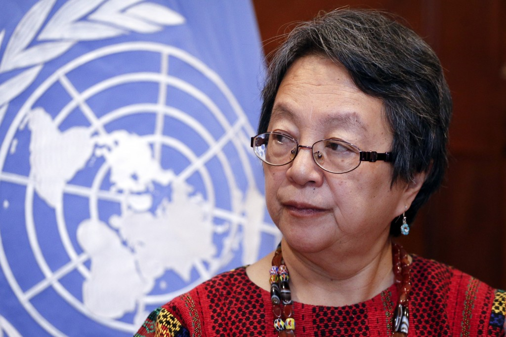 UN special rapporteur on rights of indigenous people Victoria Tauli-Corpuz presents results after a ten-day visit to Ecuador, at a hotel in Quito on November 29, 2018. (Photo by Cristina VEGA / AFP)        (Photo credit should read CRISTINA VEGA/AFP/Getty Images)