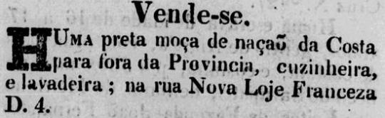 Anúncio de venda de escravo no Diário de Pernambuco.