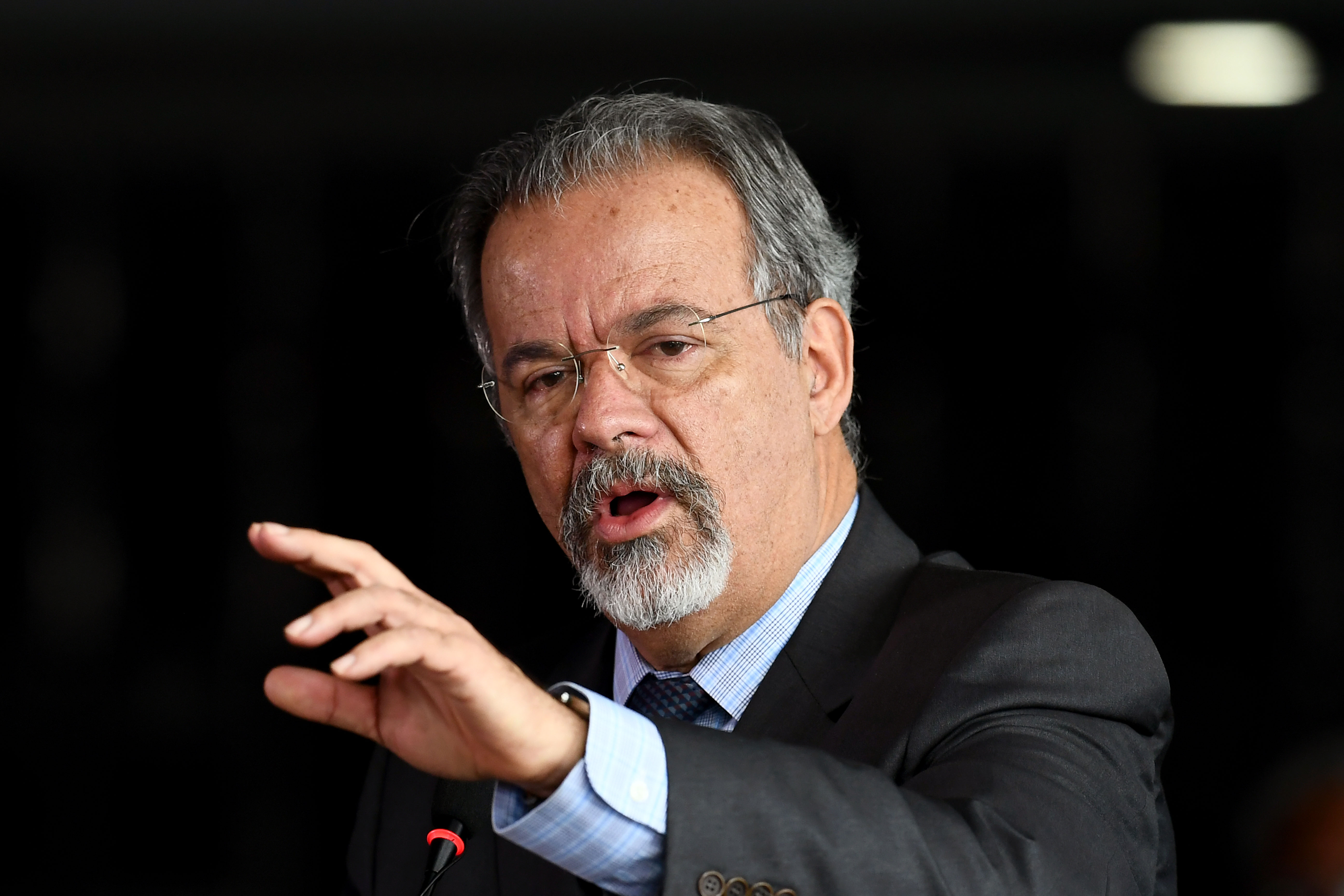 Brazil's Minister of Public Security Raul Jungmann delivers a speech during Brazil's Federal Police new Director General Rogerio Galloro inauguration ceremony in Brasilia, on March 2, 2018.Galloro replaces Fernando Segovia, dismissed from office after three months, due to controversial declarations within the government. / AFP PHOTO / EVARISTO SA        (Photo credit should read EVARISTO SA/AFP via Getty Images)