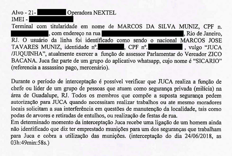 Trecho do inquérito em que o assessor Marcos da Silva Muniz, o Juca, é apontado como líder da milícia.