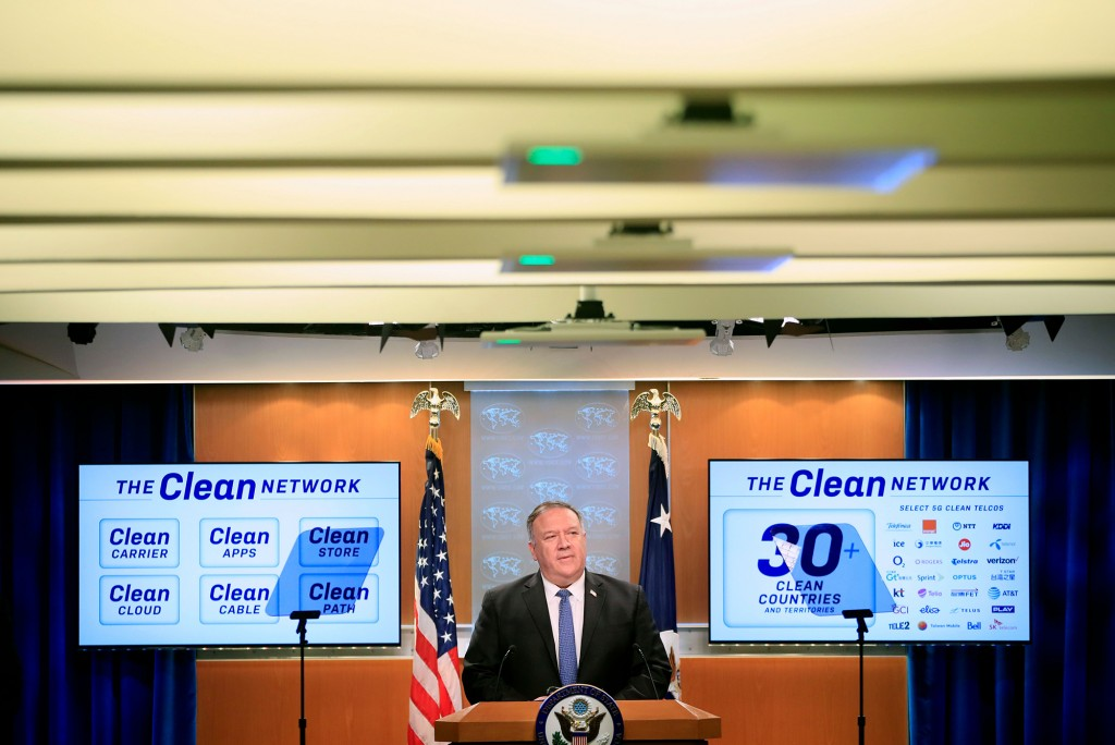 US Secretary of State Mike Pompeo speaks during a news conference at the State Department in Washington, DC, on August 5, 2020. (Photo by Pablo Martinez Monsivais / POOL / AFP) (Photo by PABLO MARTINEZ MONSIVAIS/POOL/AFP via Getty Images)