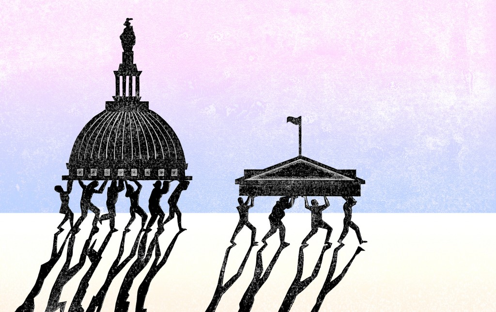 Illustration of people carry parts of the capitol and supreme court