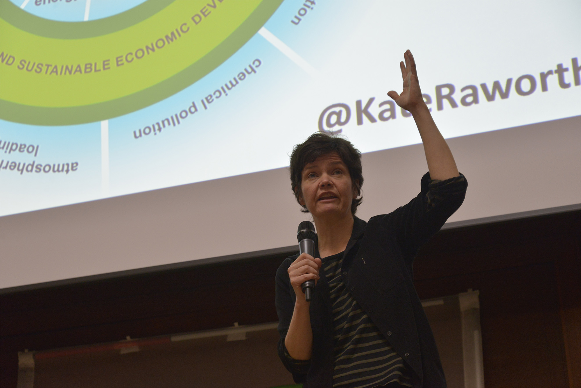 Kate Raworth, economist and development re-thinker, speaking at the 'This Changes Everything' climate change conference in London on Saturday 28th March 2015. (Photo by Jonathan Nicholson/NurPhoto) (Photo by NurPhoto/NurPhoto via Getty Images)