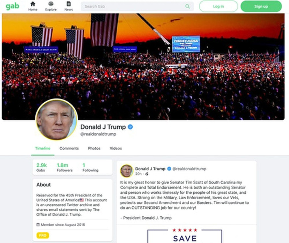 Donald Trump's Gab Account Uses an Email Address Belonging to the Extremist Platform's CEO