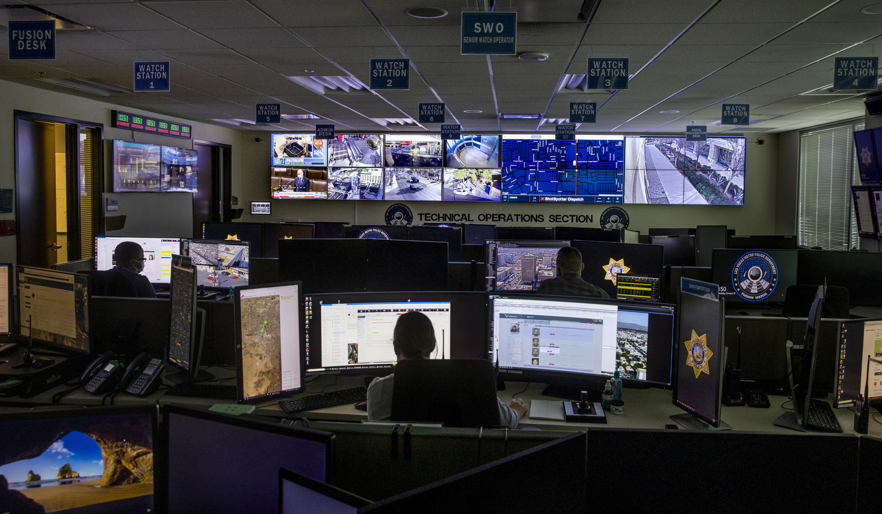 A ShotSpotter Dispatch program is in operation within the Fusion Watch department at the Las Vegas Metropolitan Police Headquarters on Jan. 13, 2021, in Las Vegas.