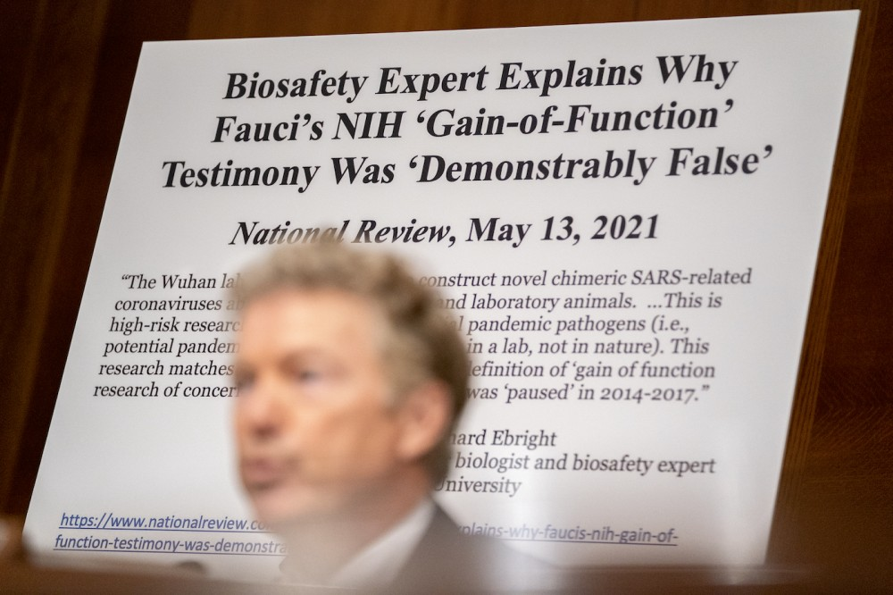 A sign is displayed behind Senator Rand Paul (R-KY) as he speaks at a Senate Health, Education, Labor, and Pensions Committee hearing at the Dirksen Senate Office Building on July 20, 2021 in Washington, DC. The committee will hear testimony about the Biden administration's ongoing plans to deal with the COVID-19 pandemic and Delta variant. (Photo by Stefani Reynolds-Pool/Getty Images)