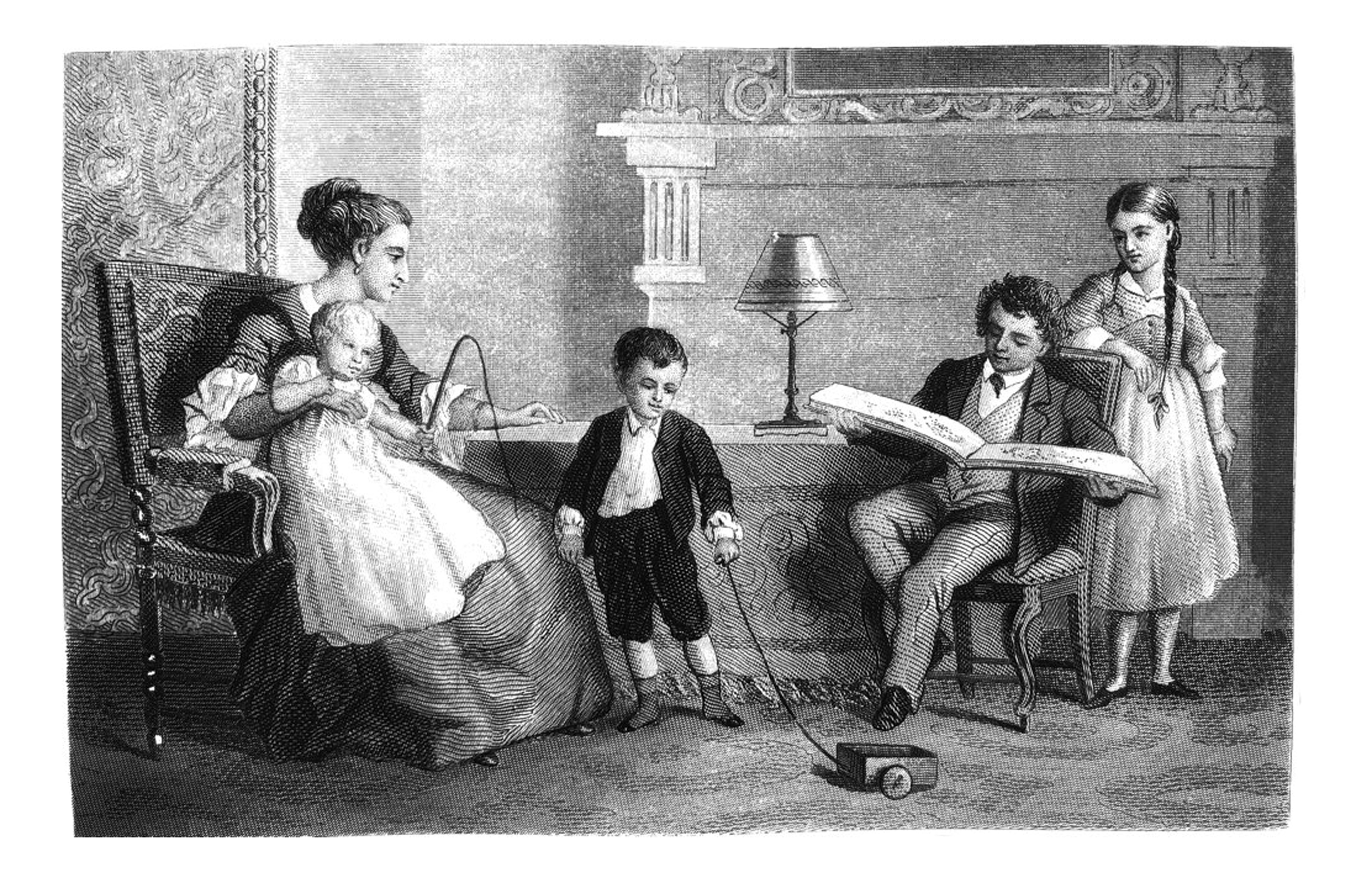 First Century United States illustrations - 1873 - A family at home - parents and children